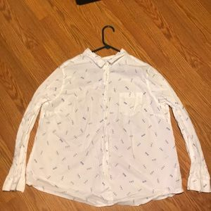 White button down with blue glasses pattern